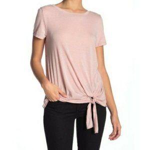 Susina XL Petite Burnout Tie Hem T-shirt in Pink Adobe NWT